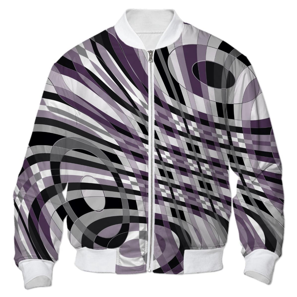 Abstract 360 Plum and Gray Bomber Jacket
