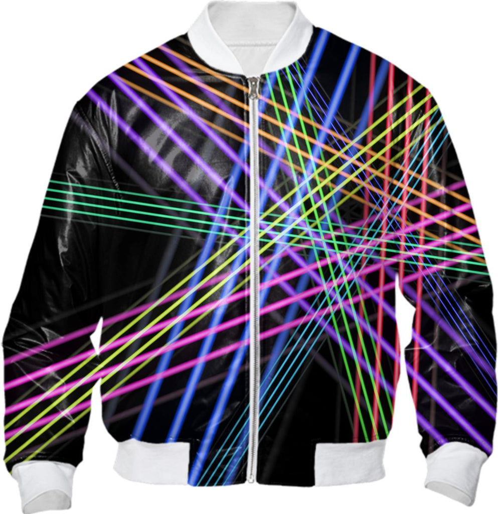 Black with Colorful Lines and Angles Abstract Bomber Jacket