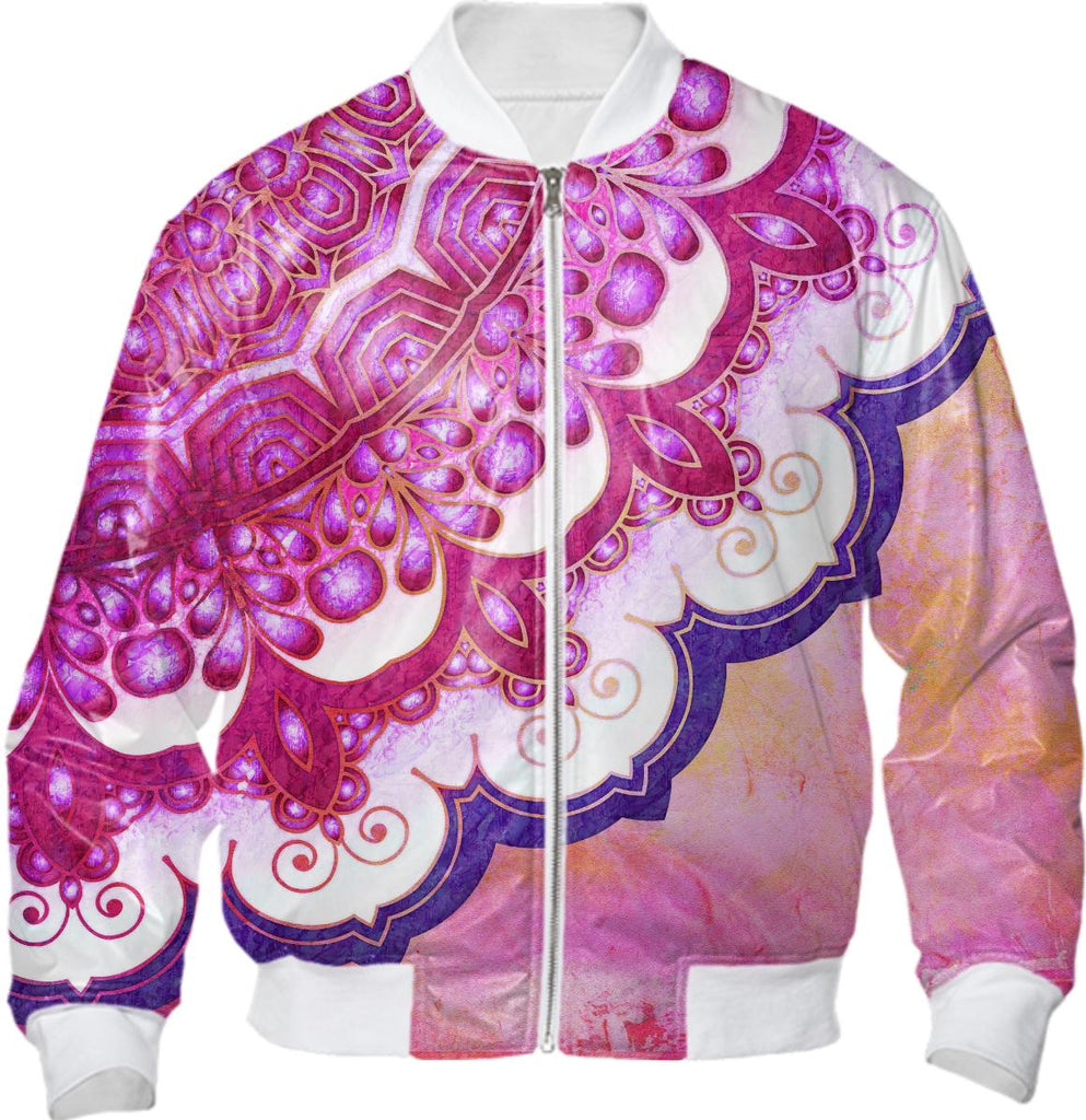 Colorful Watercolor Mandala Bomber Jacket