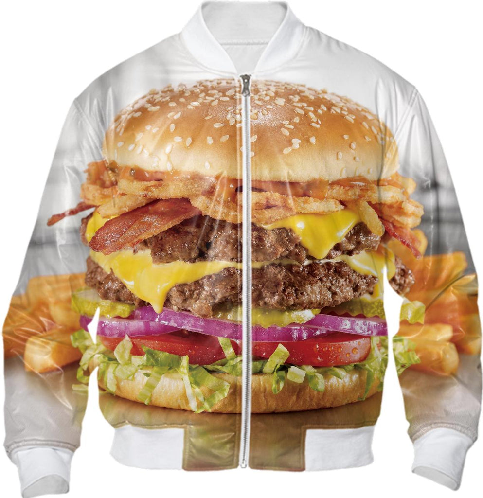 Evil Robot Hustler Mighty Cheeseburger Bomber Jacket