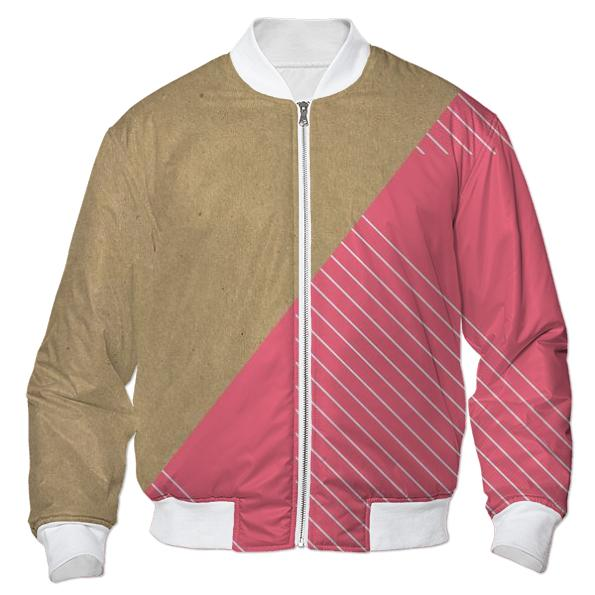 Pink Stripes Cardboard Bomber Jacket