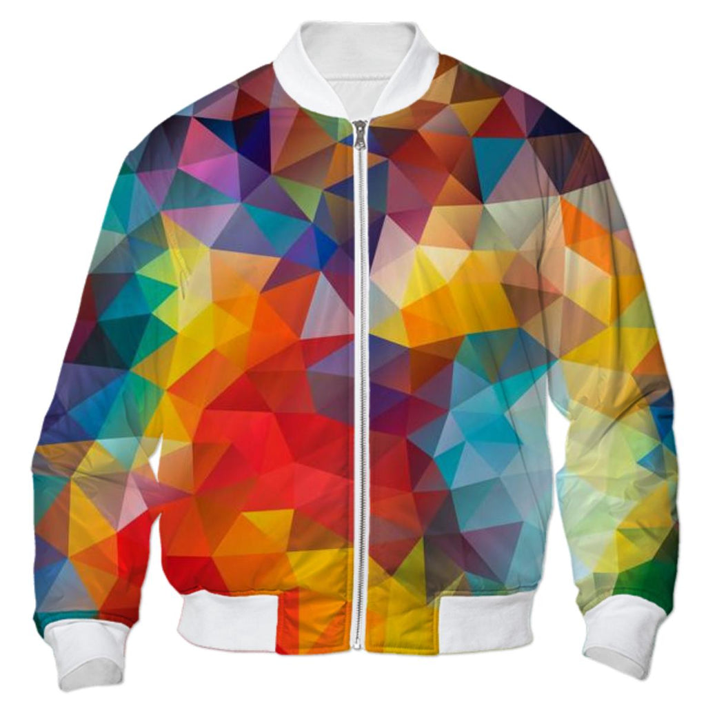 POLYGON TRIANGLES PATTERN MULTI COLOR COLORFUL RAINBOW ABSTRACT POLYART GEOMETRIC AVENUE AUTUMN ORANGE BOMBER JACKET YELLOW RED BOMBER JACKET BOMBER JACKET PATTERN BOMBER JACKET GEOMETRIC