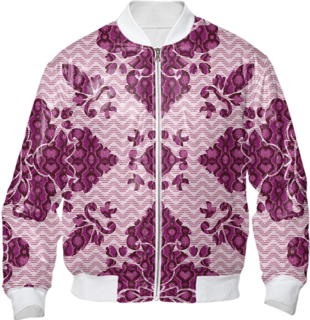 Python Lace Fantasy in Pink Bomber Jacket