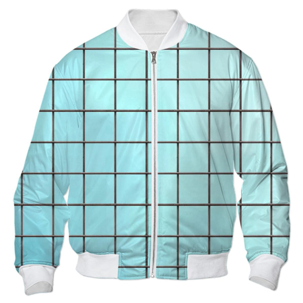 PAOM, Print All Over Me, digital print, design, fashion, style, collaboration, various-projects, various projects, Bomber Jacket, Bomber-Jacket, BomberJacket, HOCKNEY, BLUE, GRID, autumn winter, unisex, Nylon, Outerwear