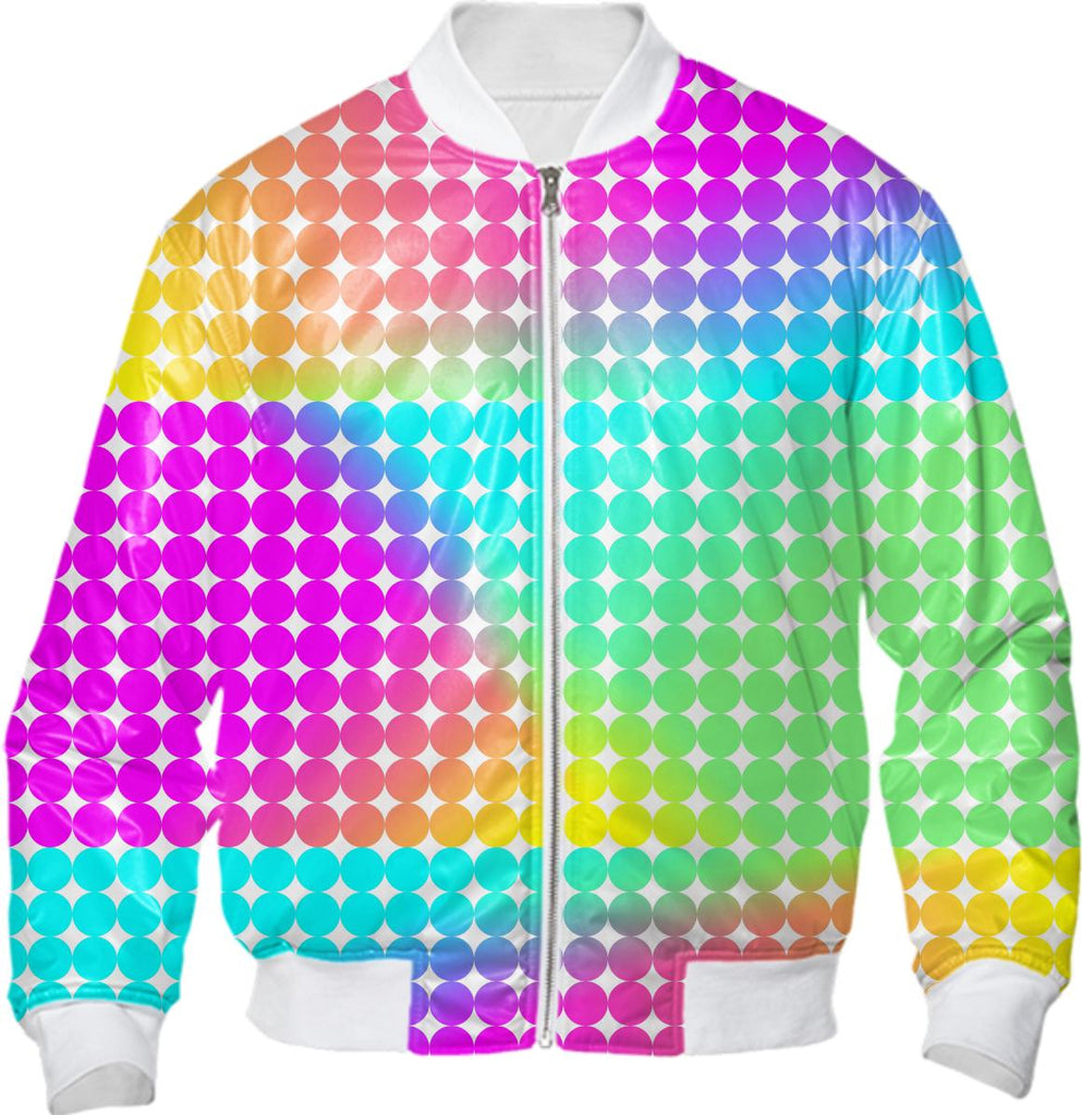 Trendy Bright Colorful Neon Rainbow Spotted Fashion Bomber Jacket