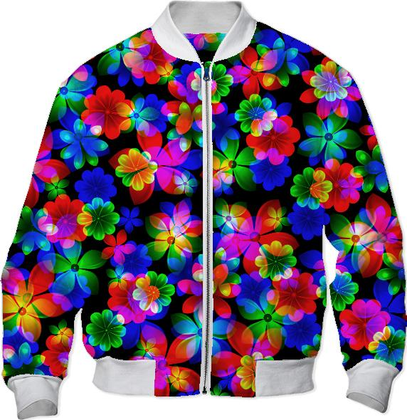 3D BOUQUET OF FLOWERS bomber jacket