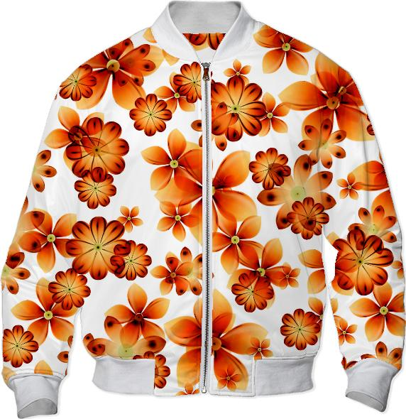 Burnt Flower Bomber Jacket