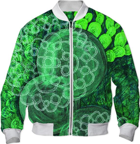 green lace bomber jacket