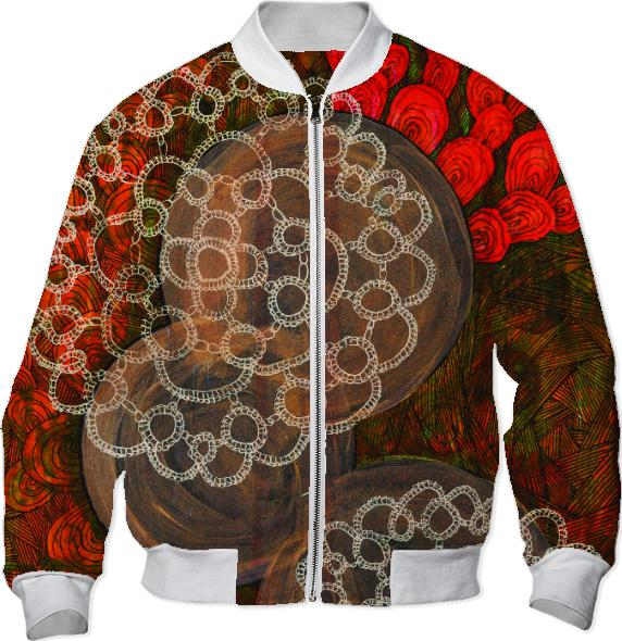 orange lace bomber jacket
