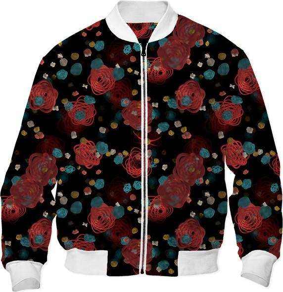 Sprouted Spirals Red and Blue Bomber Jacket