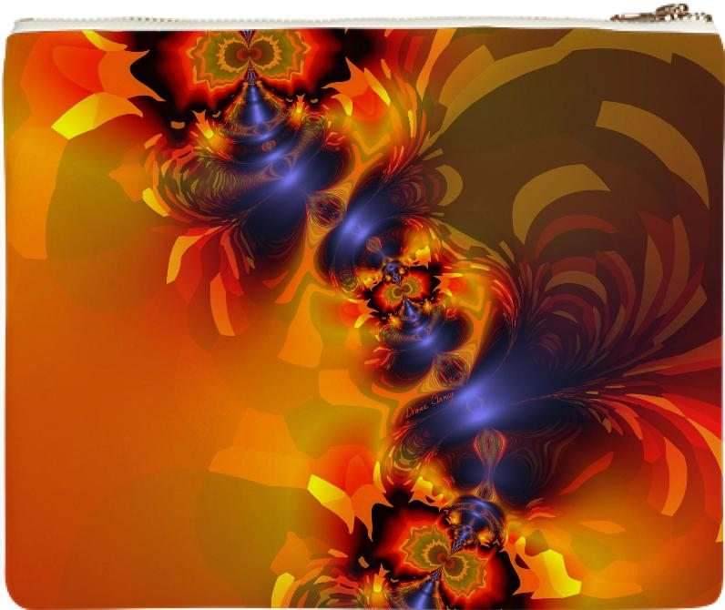 Orange Eyes Aglow Abstract Fractal Gold and Violet Delight