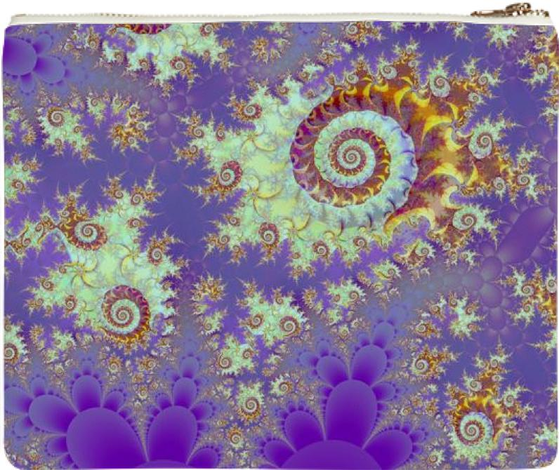 Sea Shell Spiral Abstract Violet Cyan Stars