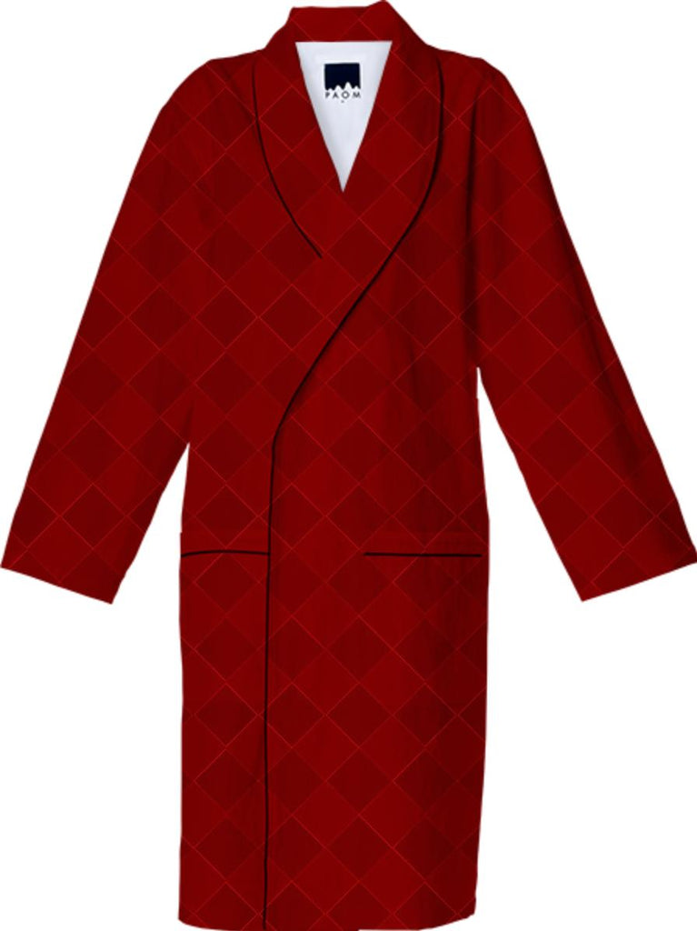 Burgundy Checkered Cotton Robe