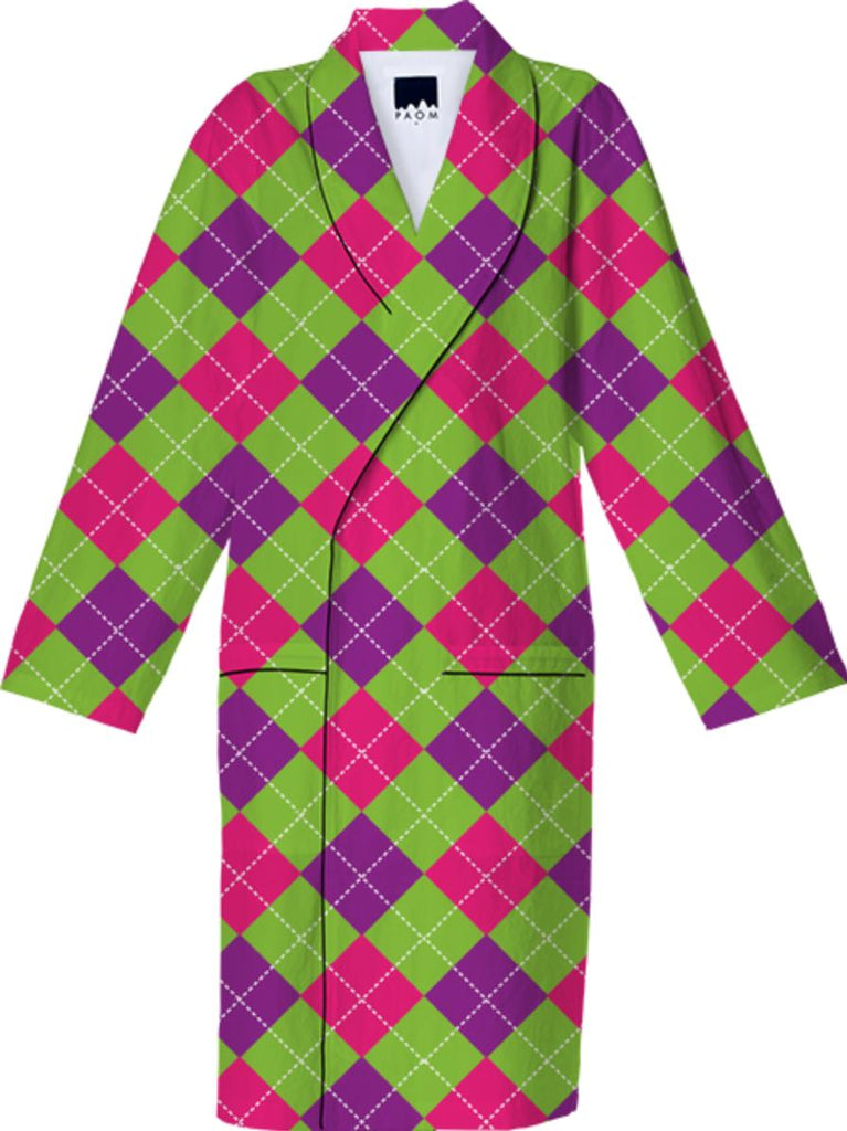 PINK PURPLE GREEN ARGYLE PATTERN COTTON ROBE