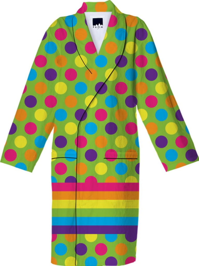 RAINBOW POLKA DOTS STRIPED COTTON ROBE