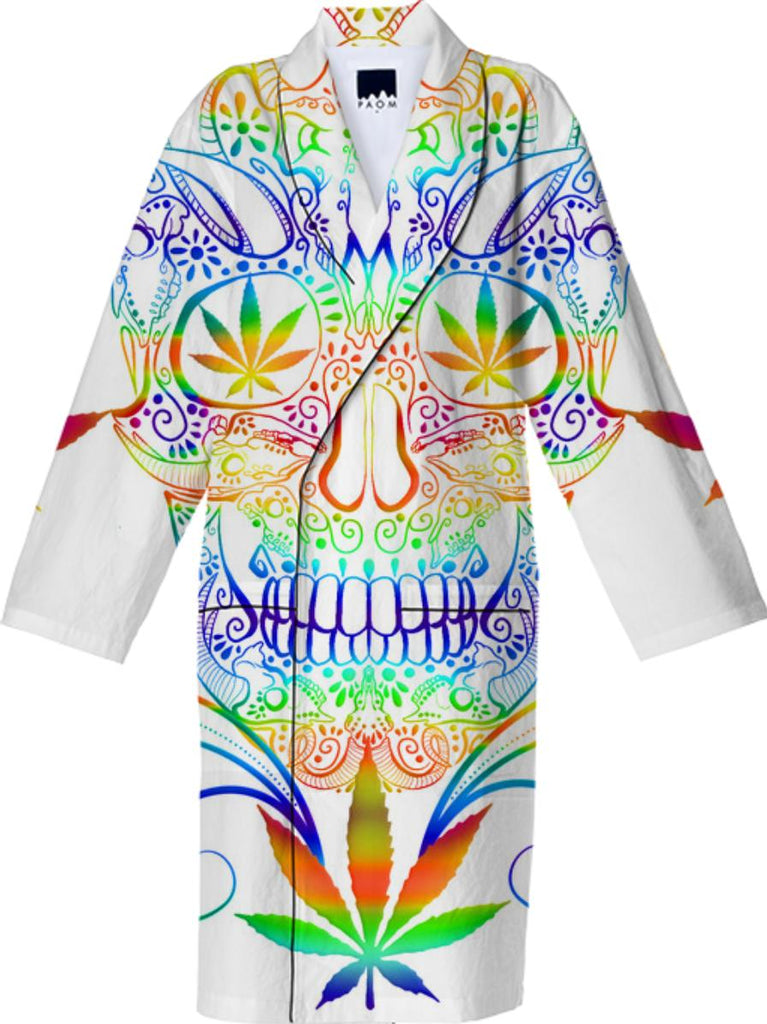 Skull Marijuana Leaves Cotton Robe