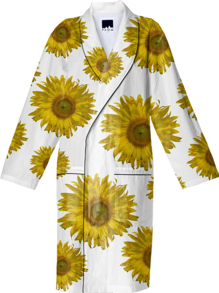 Yellow Scattered Sunflowers Cotton Robe