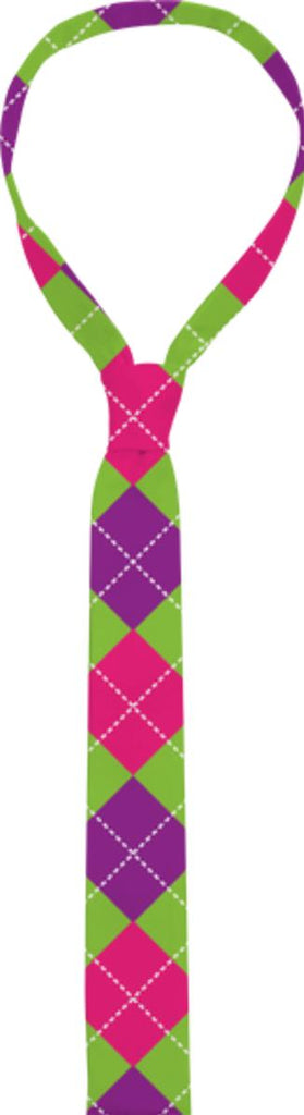 PINK PURPLE GREEN ARGYLE PATTERN COTTON TIE