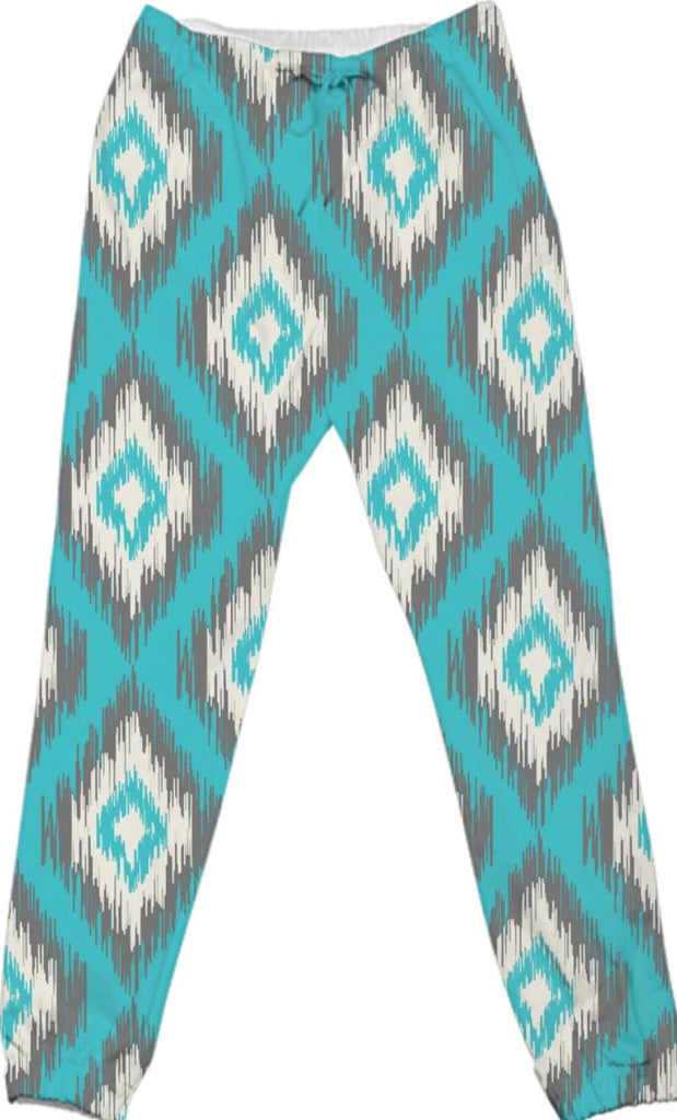 Turquoise and Gray Ikat