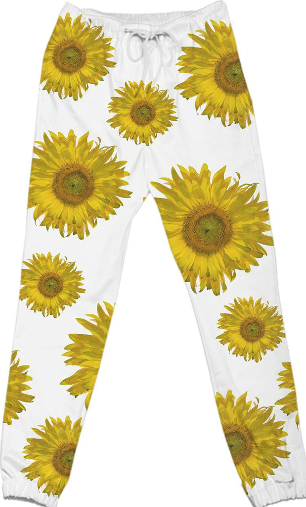 Yellow Scattered Sunflowers Cotton Pants