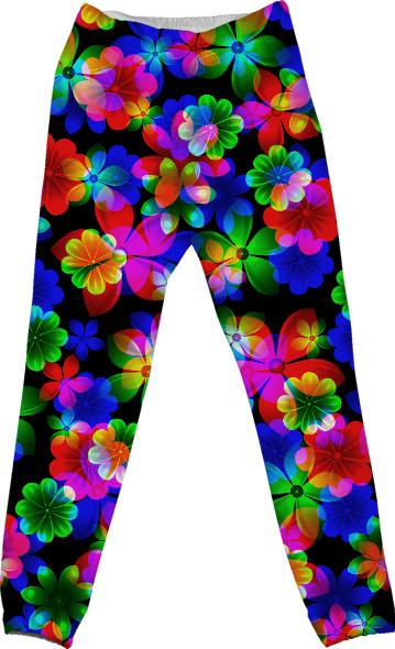 3D BOUQUET OF FLOWERS COTTON PANTS