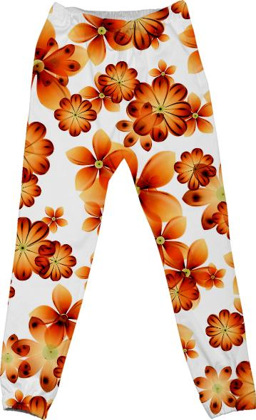 Burnt Flower Cotton Pants by Valxart com