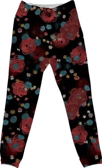 Sprouted Spirals Red and Blue Cotton Pants