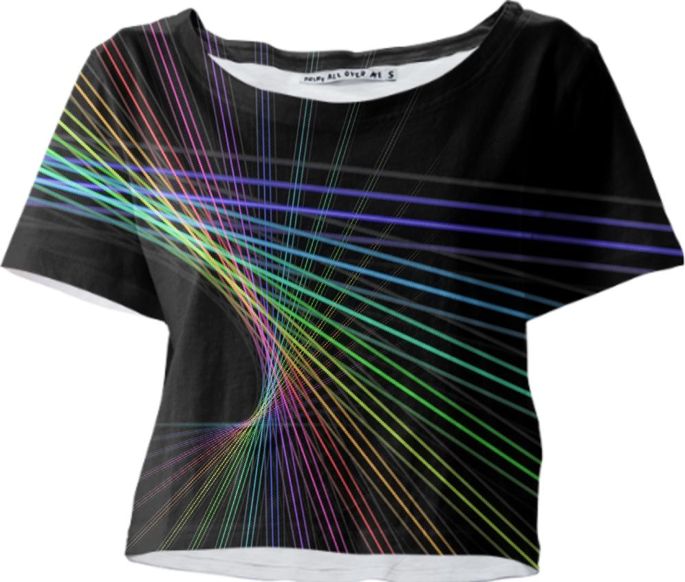Black with Rainbow Color Lines Abstract