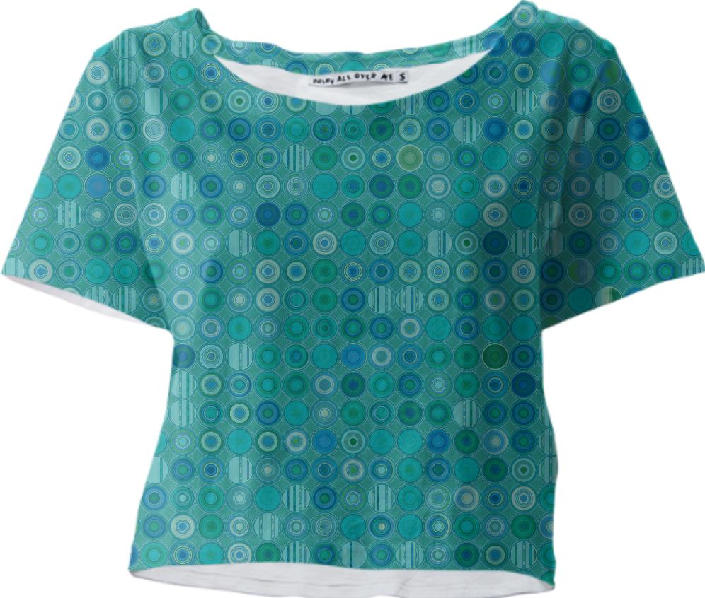 Blue Green Circles With Patterns Crop Tee