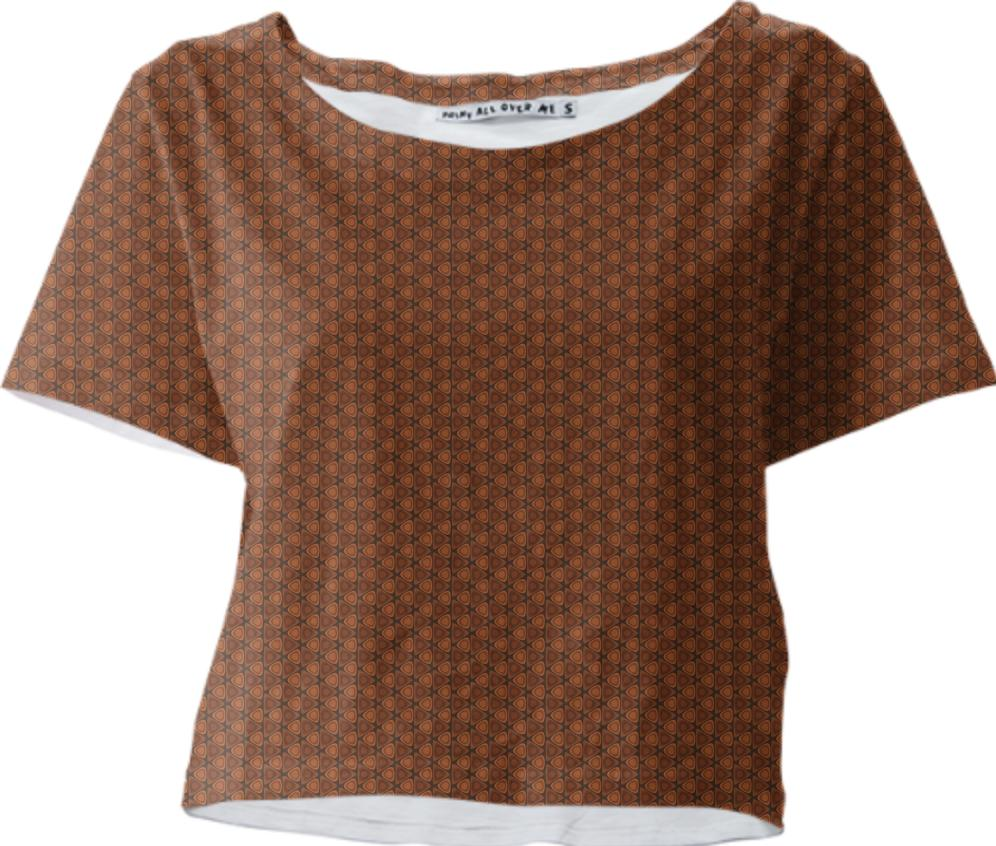 Brown Ovals in Triangles Retro Pattern Crop Tee