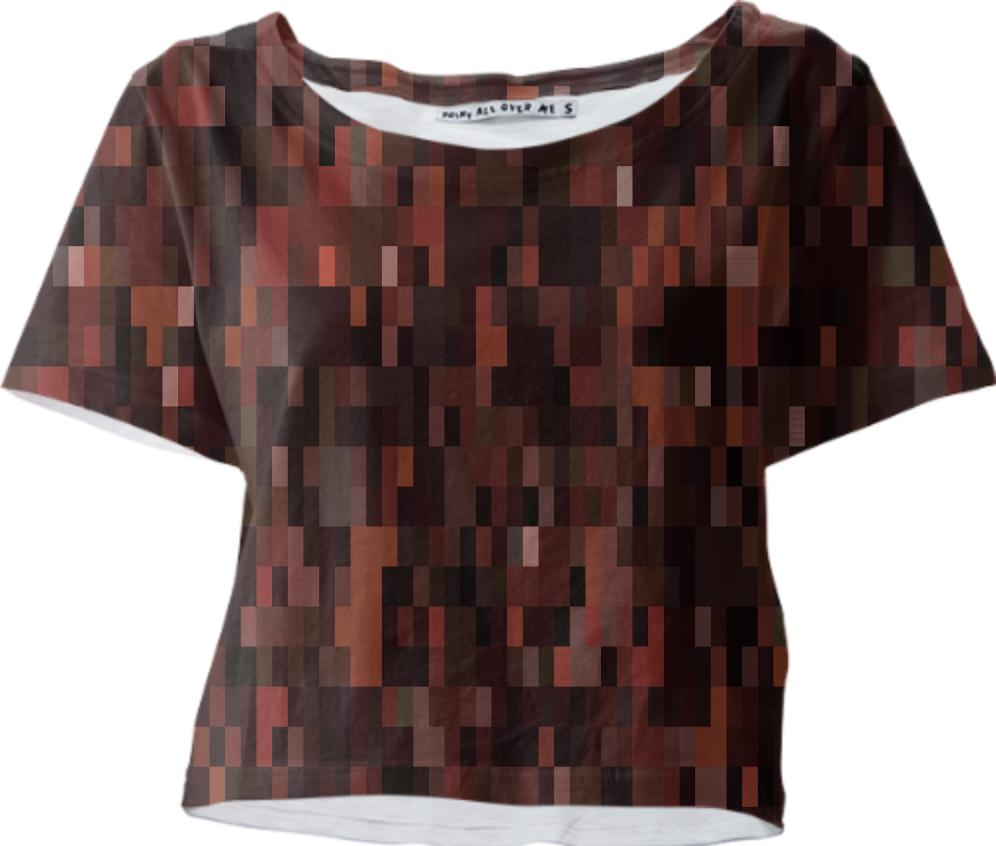 Dark Brown Tones Pixel Abstract Crop Tee