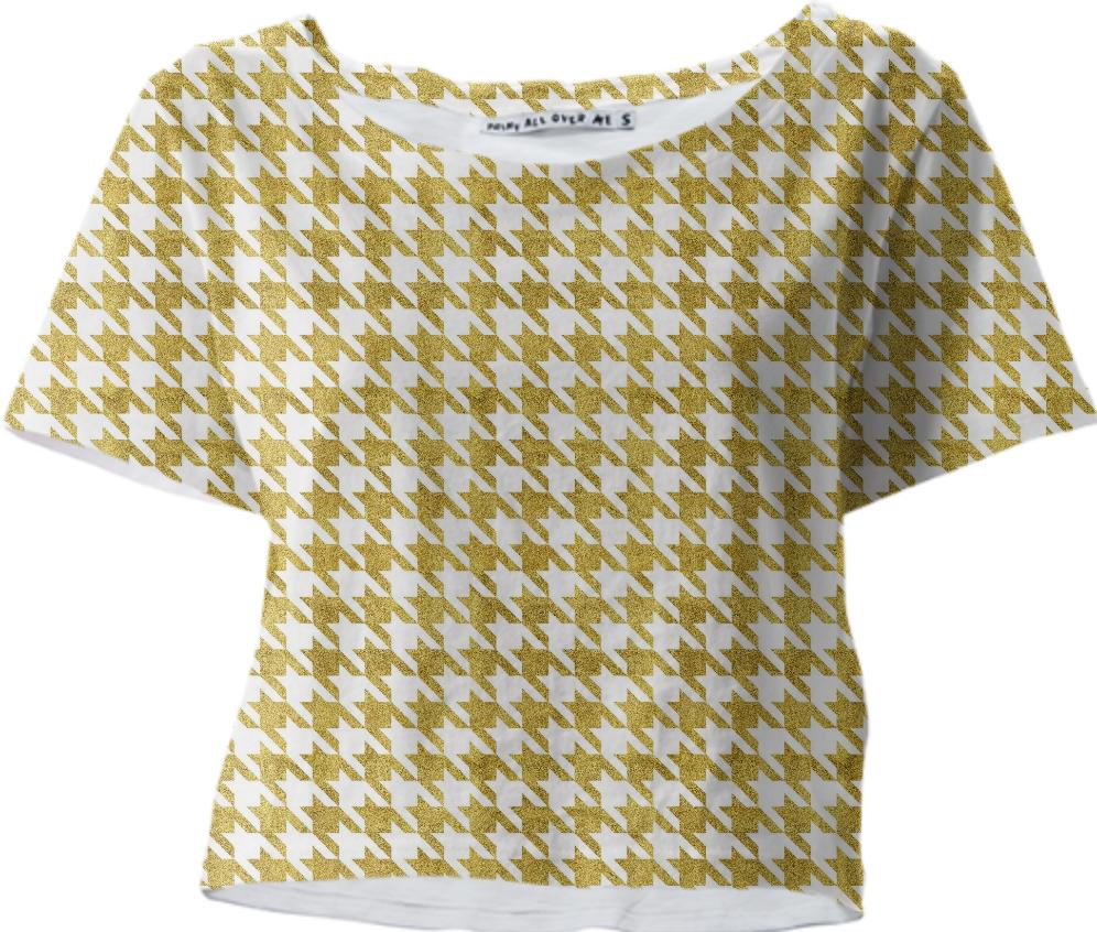 Golden Pied de Poule Crop Tee