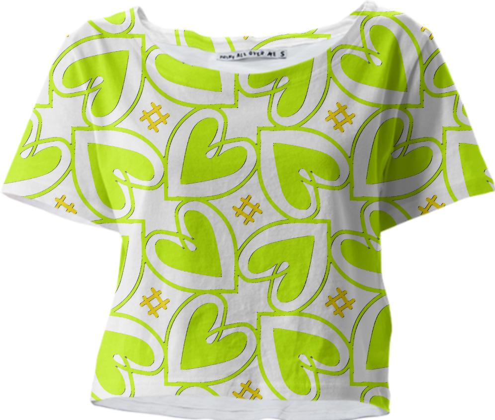 Lime Heart Crop Tee