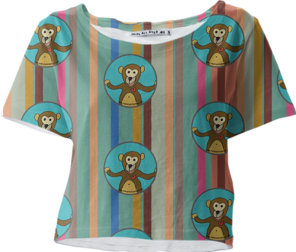 Little Monkey on stripe background cropped tee
