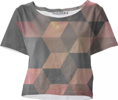 Pink Gray Cubic crop top