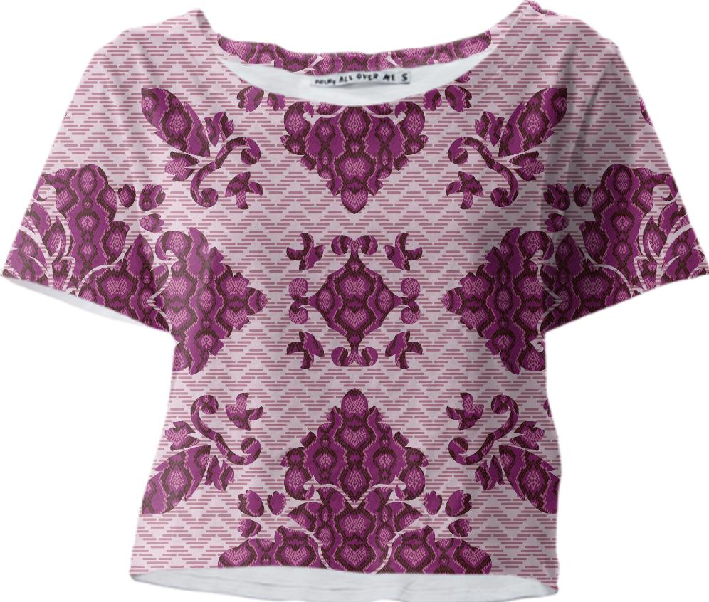 Python Lace Fantasy in Pink Crop Tee