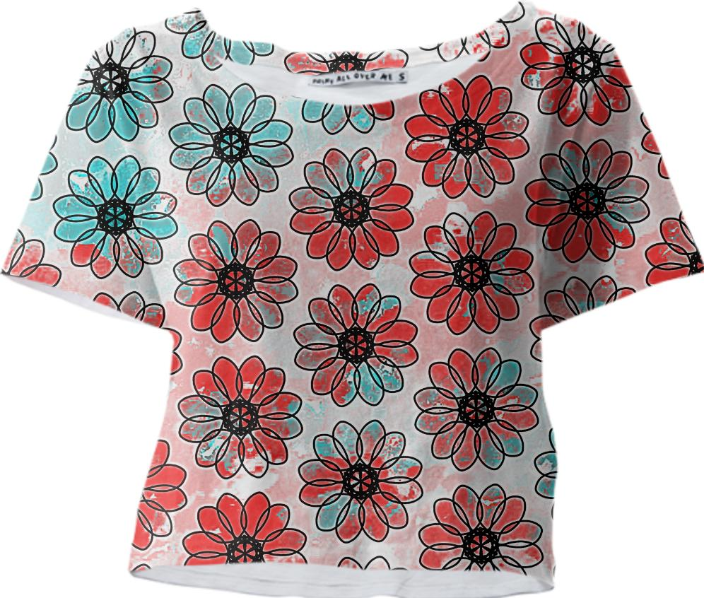 Red and Teal Painted Flower Crop Tee