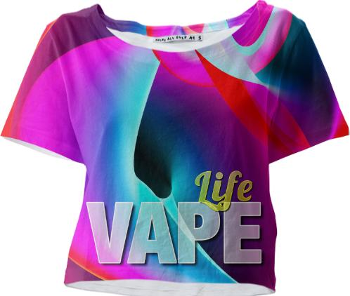 Vape Life Rainbow Cloud crop Tee