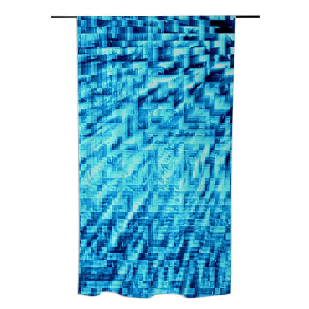 Turquoise Windy Pixels Curtains