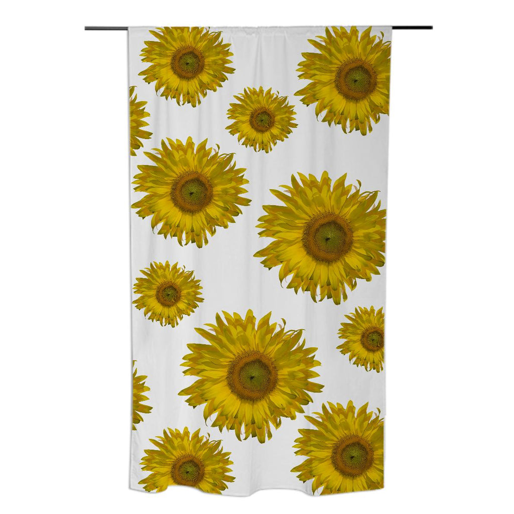 Yellow Scattered Sunflowers Curtain
