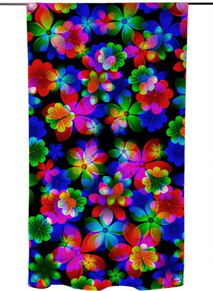 3D BOUQUET OF FLOWERS CURTAIN Dimensions 57 x 78