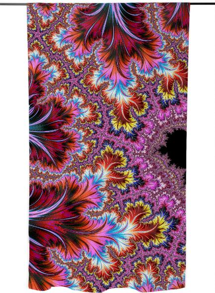 Elegant Funky Pink Fractal Art With Deco Feathers And Rainbow Swirls