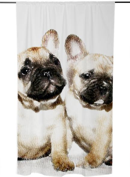 French bulldogs curtain