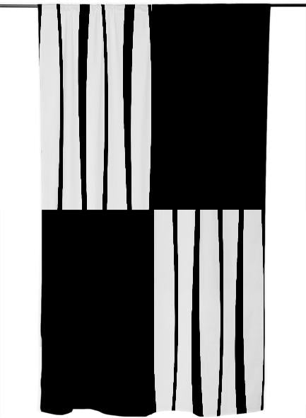 Stylish black and white quartered stripes