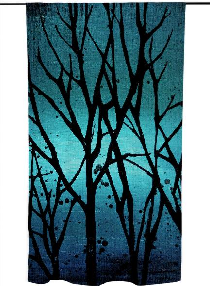 Teal Branches Painting Curtain