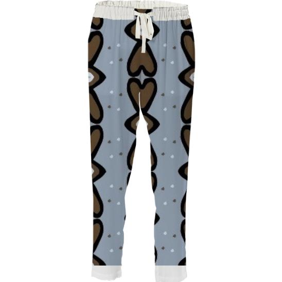 Blue and Brown Heart Drawstring Pant