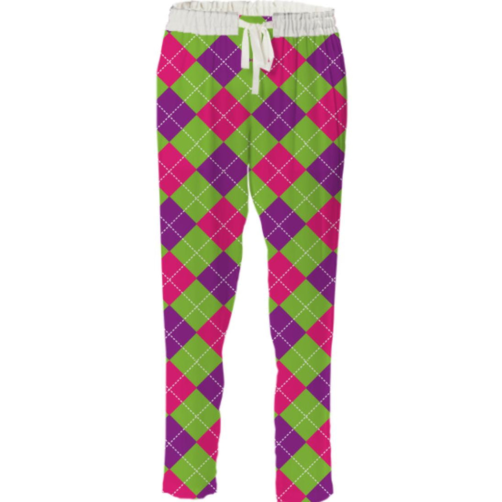 PINK PURPLE GREEN ARGYLE PATTERN DRAWSTRING PANT