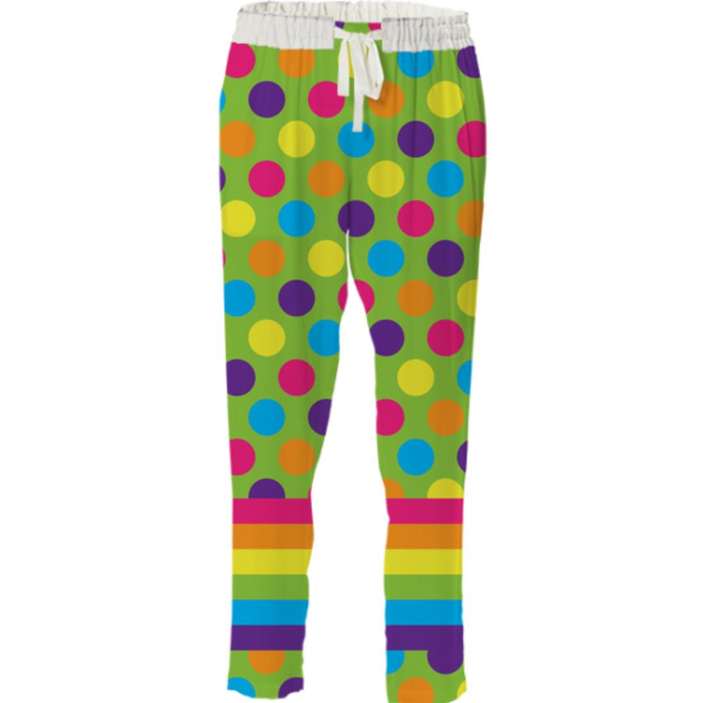 RAINBOW POLKA DOTS STRIPED DRAWSTRING PANT