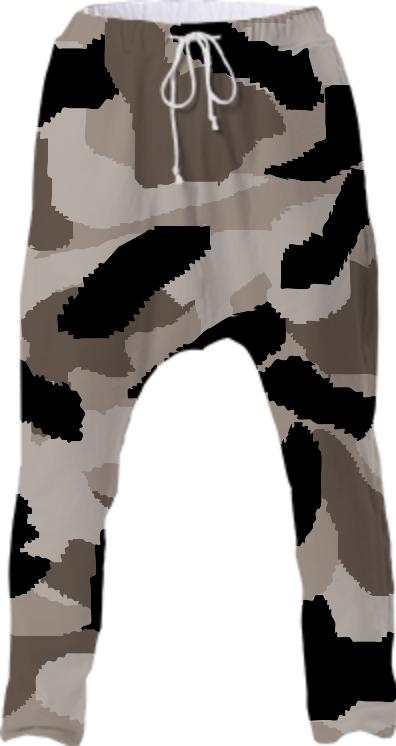 Beige Camouflage Drop Pants