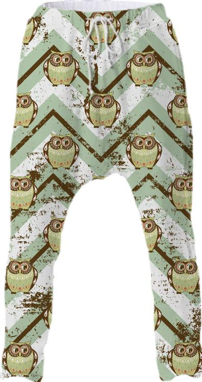 Distressed Chevron Owl Pattern
